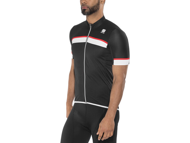 Sportful Pista Maillot manches courtes Homme, black/white-red